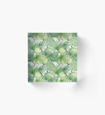 Watercolor Exotic Leaves Pattern Acrylic Block