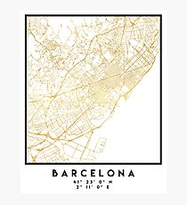 BARCELONA SPAIN CITY STREET MAP ART Photographic Print
