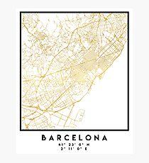 BARCELONA SPAIN CITY STREET MAP ART Photographic Print