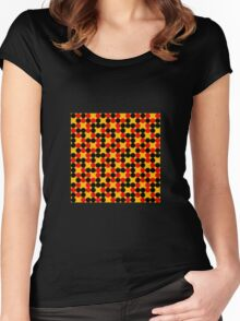 yellow background red black dots pattern Women's Fitted Scoop T-Shirt