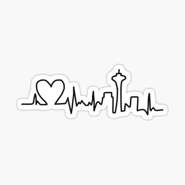 Heart Beat Skyline Pegatina