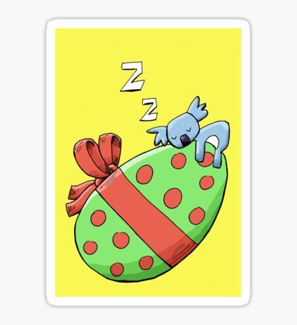 Cute Sleeping Koala on an Easter Egg Sticker