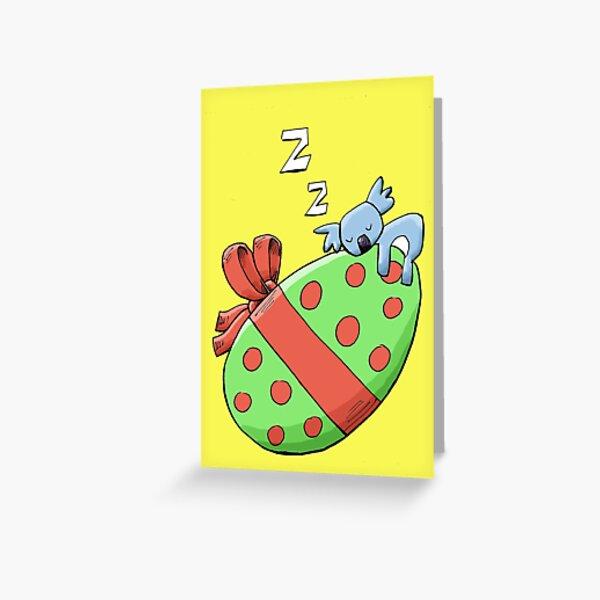 Cute Sleeping Koala on an Easter Egg Greeting Card