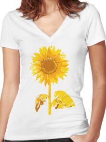 Sunflower_2 Women's Fitted V-Neck T-Shirt