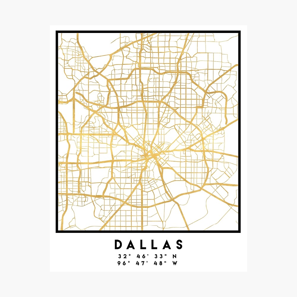 DALLAS TEXAS CITY STREET MAP ARTE Lámina fotográfica