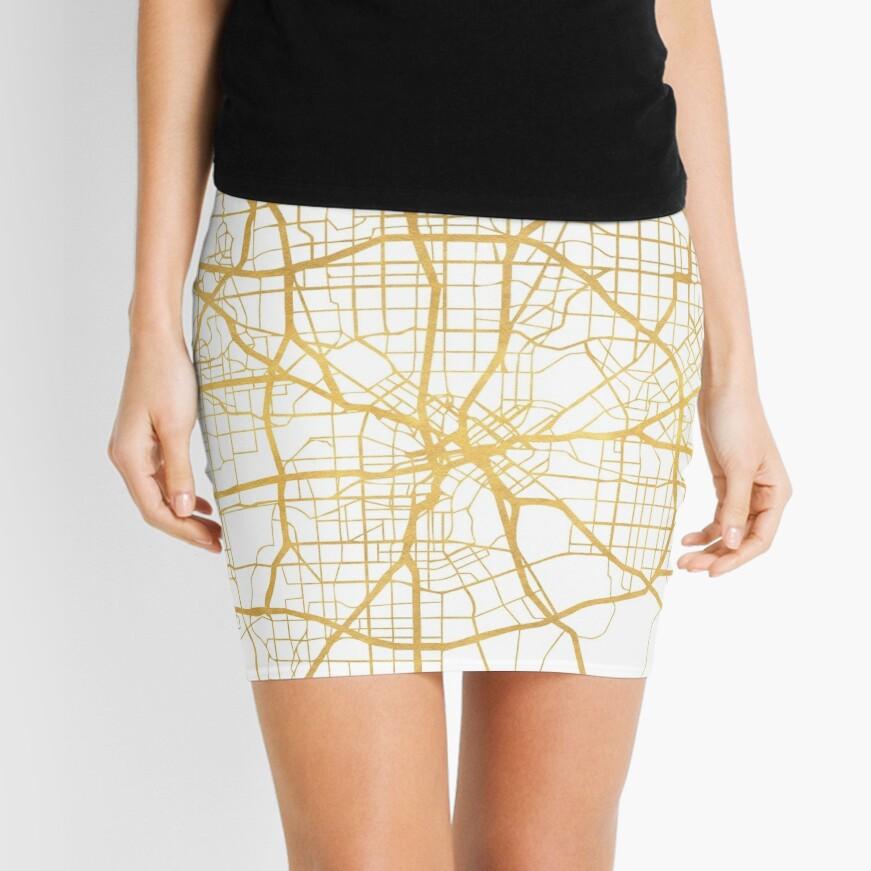 DALLAS TEXAS CITY STREET MAP ARTE Minifalda
