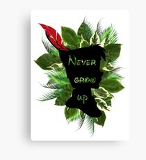 Peter Pan Feather Text Canvas Print