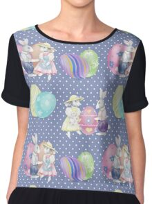Watercolor Easter Bunnies Pattern Chiffon Top