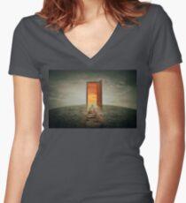teleportation door Women's Fitted V-Neck T-Shirt