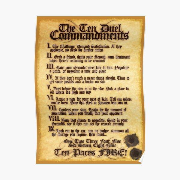 The 10 Duel Commandments Poster