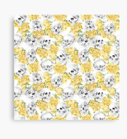 Watercolor Skull With Flowers Pattern Canvas Print