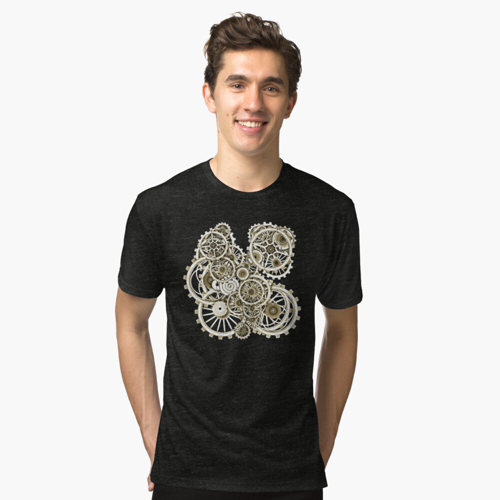 Steampunk Gears on your Gear No.2 Vintage Style Steampunk T-Shirts Tri-blend T-Shirt