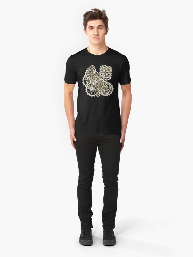 Alternate view of Steampunk Gears on your Gear No.2 Vintage Style Steampunk T-Shirts Slim Fit T-Shirt