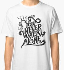 You Never Walk Alone - BTS - Black Text (on Blue) Classic T-Shirt