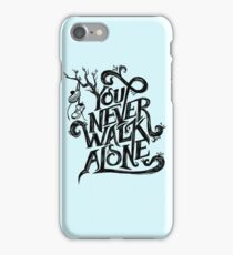 You Never Walk Alone - BTS - Black Text (on Blue) iPhone Case/Skin
