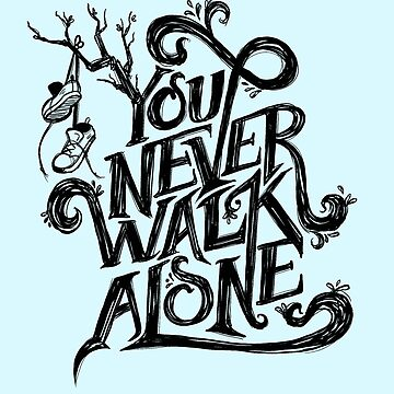 You Never Walk Alone - BTS - Black Text (on Blue) by Dandimator