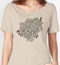 Contour Flower Lace Bouquet (Black and White) Women's Relaxed Fit T-Shirt