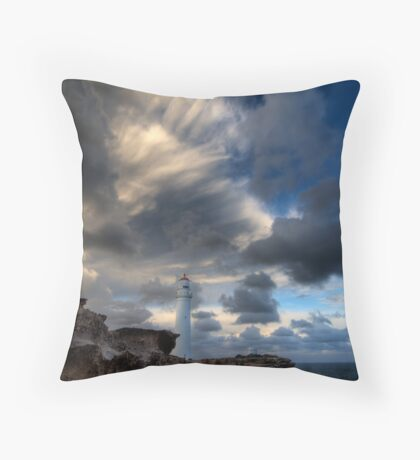 Storming the Portland Coastline Throw Pillow