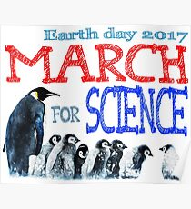 Penguins - March For Science - Earth Day 2017 Poster
