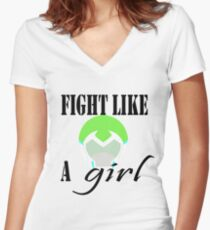 Voltron Inspired Fight Like a Girl Quote Women's Fitted V-Neck T-Shirt