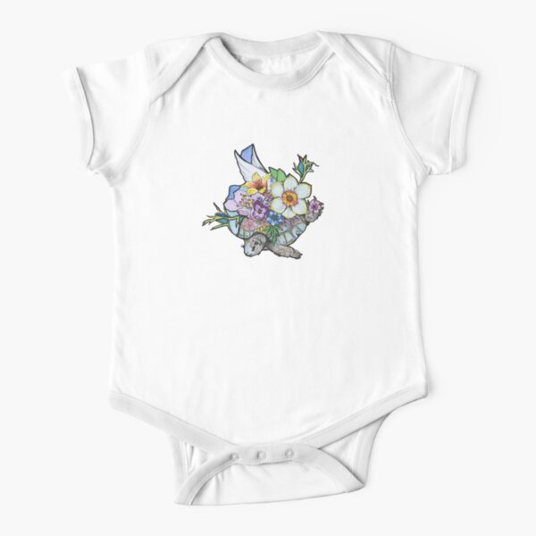 springtime flying pink Short Sleeve Baby One-Piece