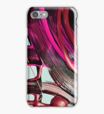 Painted background texture with pink and black stripes iPhone Case/Skin