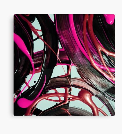 Painted background texture with pink and black stripes Canvas Print