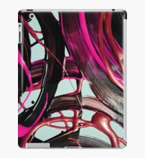 Painted background texture with pink and black stripes iPad Case/Skin