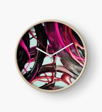 Painted background texture with pink and black stripes Clock