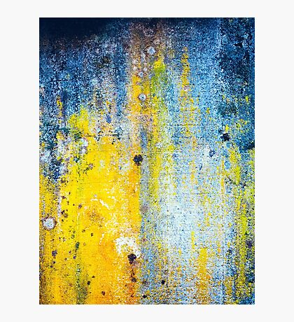 Yellow and white abstract wall Photographic Print