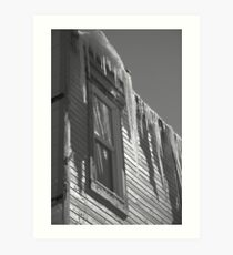 Icicles on an eave in Ouray, Colorado Art Print