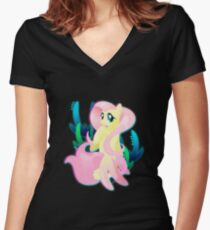 Seapony Fluttershy Women's Fitted V-Neck T-Shirt