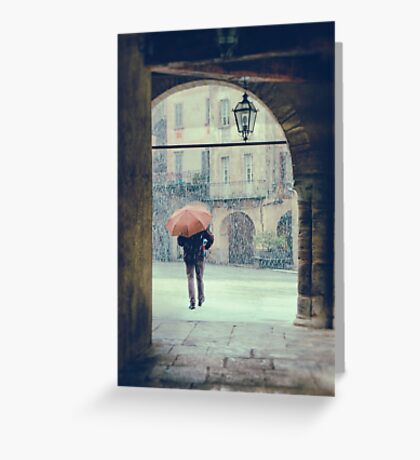 Man with umbrella on a snowy day Greeting Card