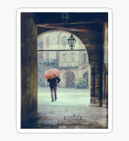 Man with umbrella on a snowy day Sticker