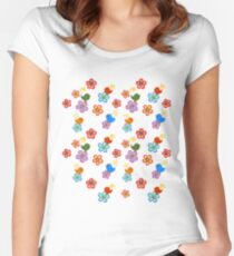 Silly Bird Floral on White Women's Fitted Scoop T-Shirt