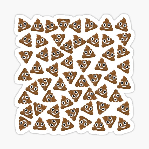 Pile de Poo Poop Emoji Pattern Sticker