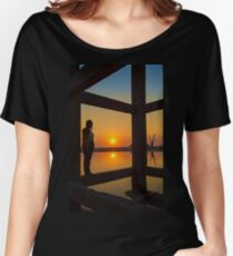 Myanmar. Taungthaman Lake. U Bein Bridge. Under the Bridge. Silhouette. Women's Relaxed Fit T-Shirt