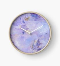 Lavender Clouds with Leaves Clock