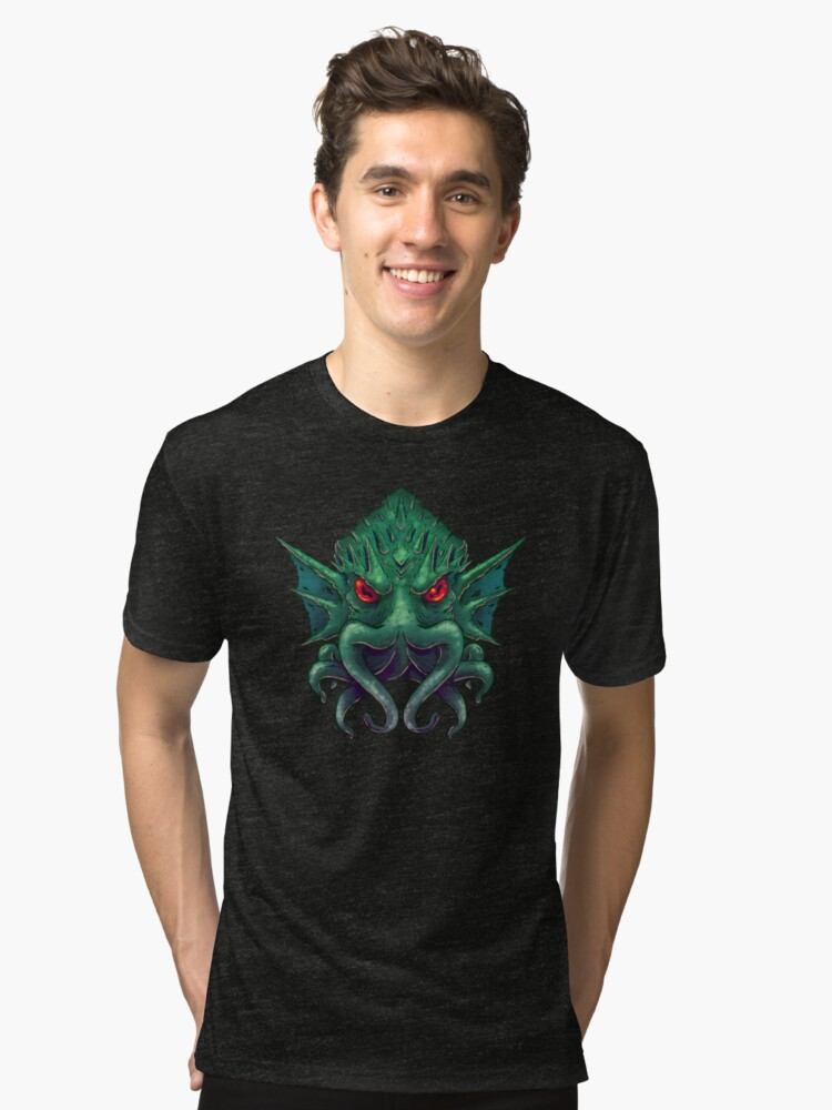 Cthulhu is Watching Tri-blend T-Shirt Front