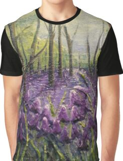 Bluebell Woods Oil Painting by Angela Brown Art Graphic T-Shirt