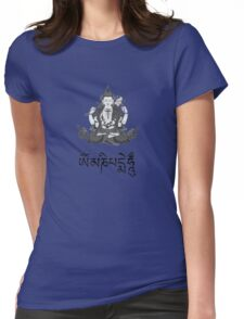 Chenrezig and Mantra (Om Mani Padme Hung) Womens Fitted T-Shirt