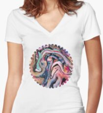 Colorful Fantasy Abstraction Women's Fitted V-Neck T-Shirt