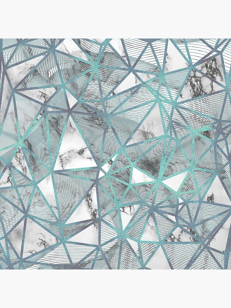 Fractured Marble Pieces Geometric Blue Texture Design de bazzadesigns
