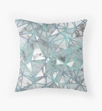 Fractured Marble Pieces Geometric Blue Texture Design Throw Pillow