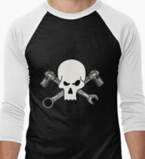 Mechanic's Skull and Crossbones Men's Baseball ¾ T-Shirt