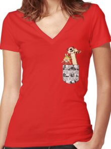 Calvin and Hobbes Pocket Women's Fitted V-Neck T-Shirt