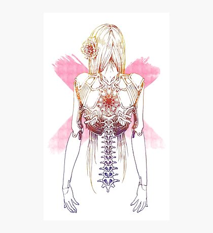 Cyborg Girl Spine (pink) Photographic Print