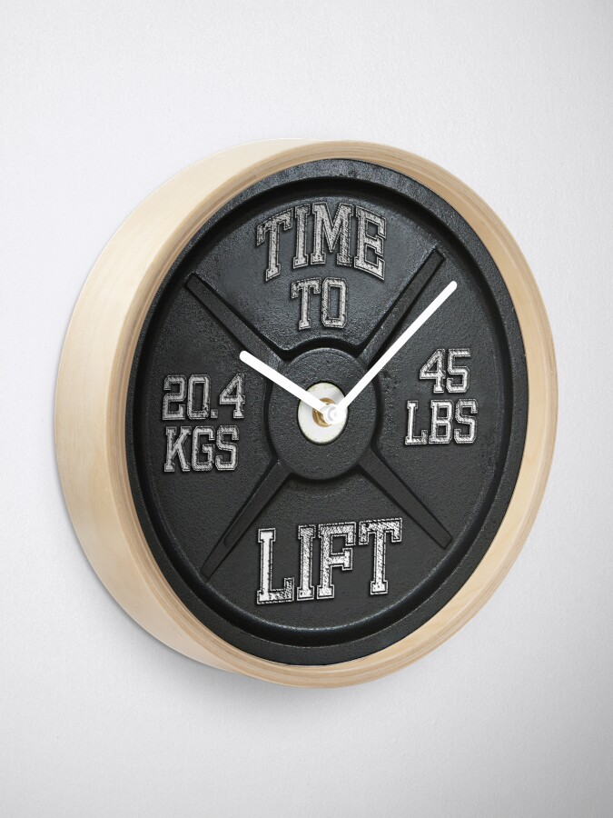 Alternate view of Time To Lift - Barbell Club Clock