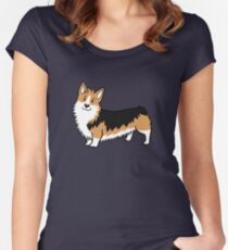 Cute Cartoon Corgi Dog Women's Fitted Scoop T-Shirt