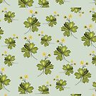 Buttercups on Silvery Mint Green  by Greenbaby